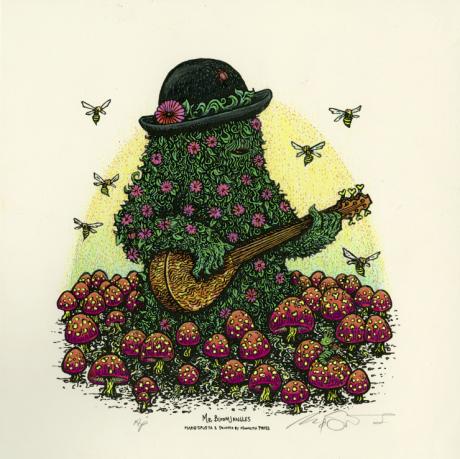 """Mr.Bloomjangles"" White AP #2 (w/ pink flowers)"